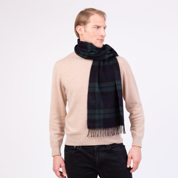 Made In Scotland Wide Cashmere Scarf | Blackwatch