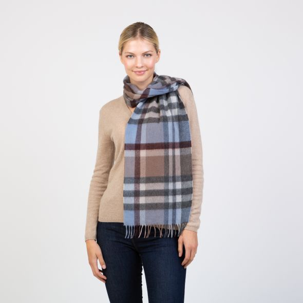 Made In Scotland Wide Cashmere Scarf | Tartan 2 Blue/Taupe