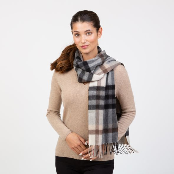 Made In Scotland Wide Cashmere Scarf | Tartan 2 Bl/Grey