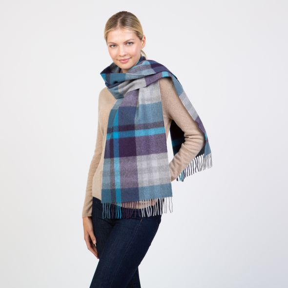 Made In Scotland Wide Cashmere Scarf | Tartan 2 Blue