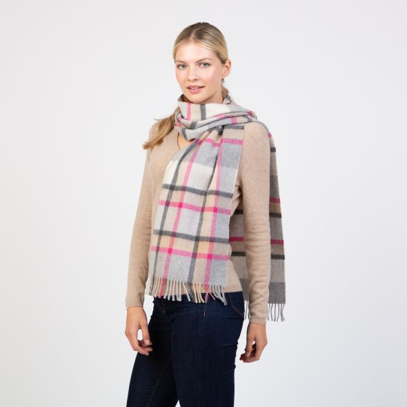 Made In Scotland Wide Cashmere Scarf | Princeton Check