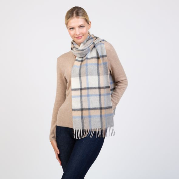 Made In Scotland Wide Cashmere Scarf | Princeton Check Blue