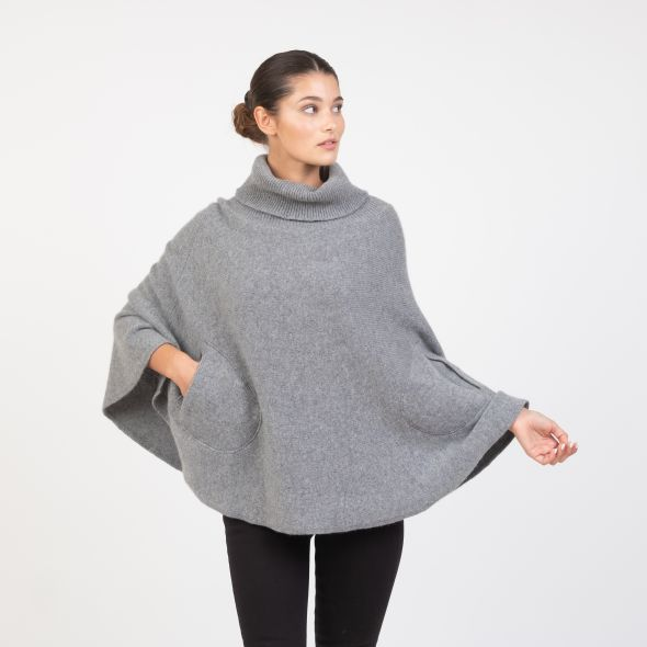 Women's Made In Scotland Lara Knitted Poncho | Flannel