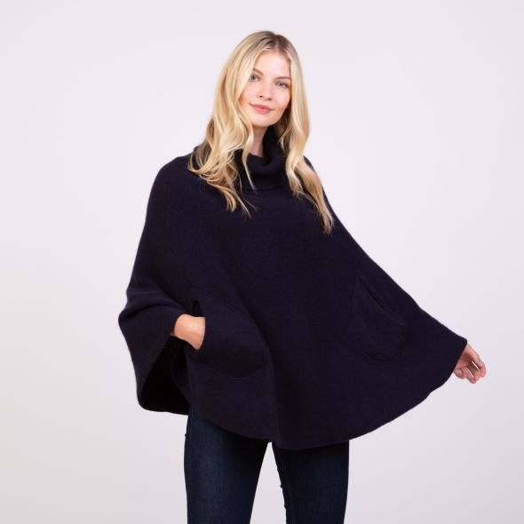 Women's Made In Scotland Lara Knitted Poncho   Navy