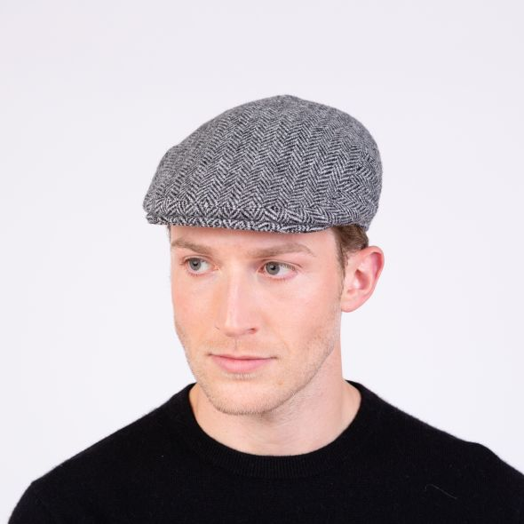 Harris Tweed Stornoway Cap | Light Grey Herringbone
