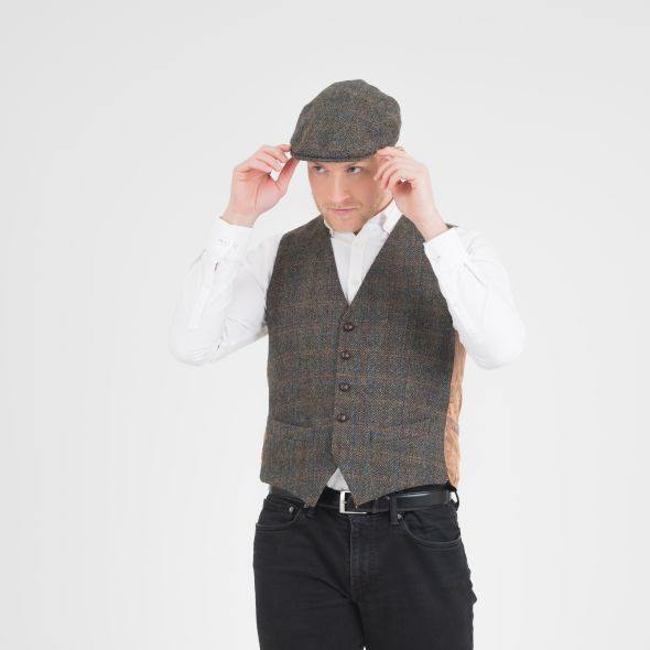 Harris Tweed Stornoway Cap | Dark Green Check