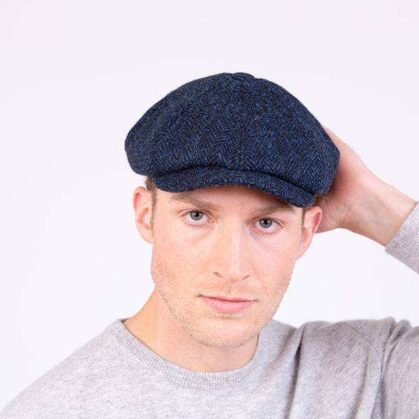 Harris Tweed Carloway Hat | Dark Navy Herringbone