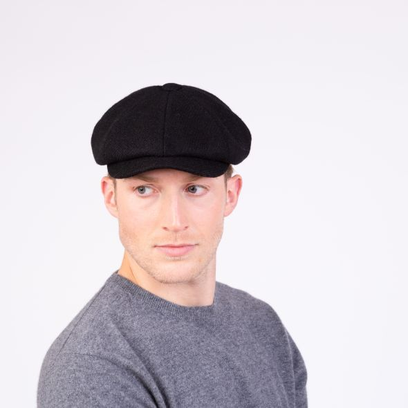Harris Tweed Carloway Hat | Plain Black Twill