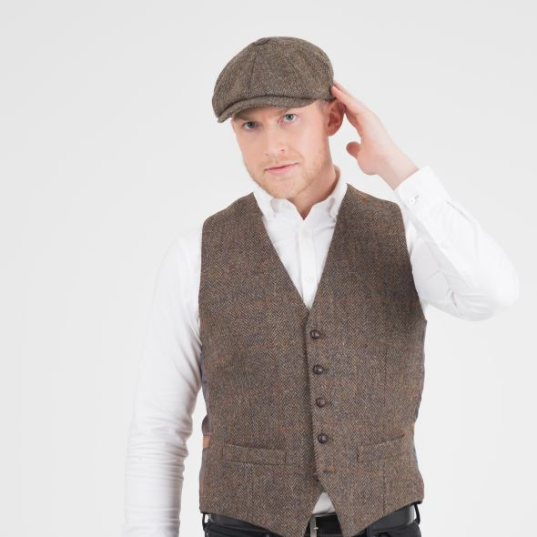 Harris Tweed Carloway Hat | Brown Check