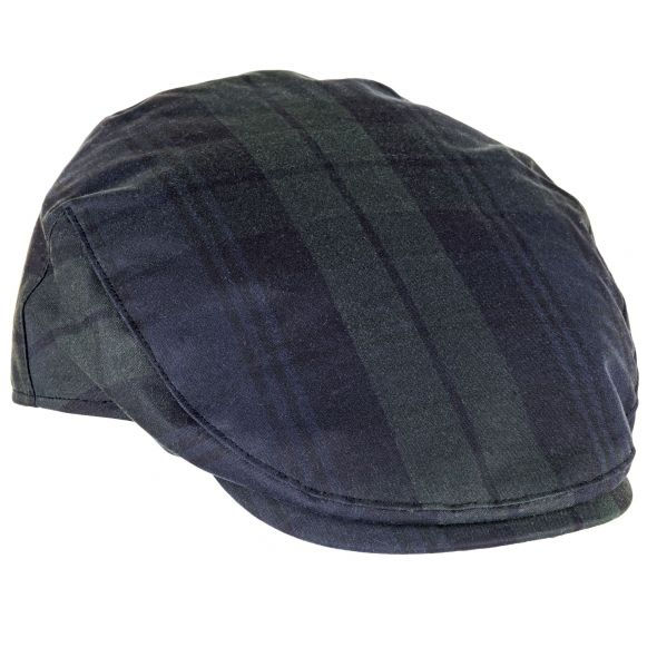 Charles Tartan Wax Flat Cap | Blackwatch