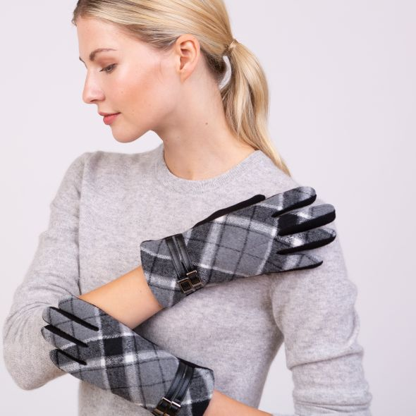 Tartan Gloves | Grey