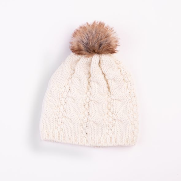 Cable Knit Pom Pom Hat | Cream