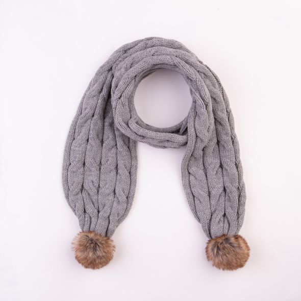 Cable Knit Pom Pom Scarf | Grey