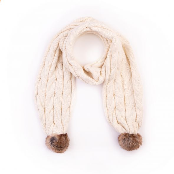Cable Knit Pom Pom Scarf | Cream