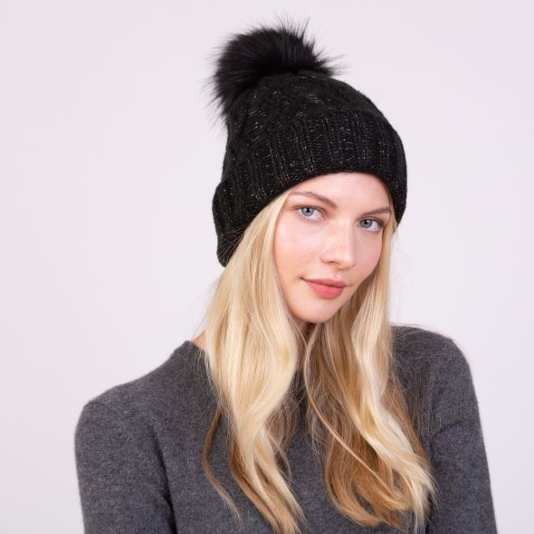 Lurex Pom Hat | Black