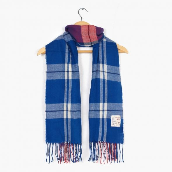 Wilfred Acrylic Check Scarf | Navy
