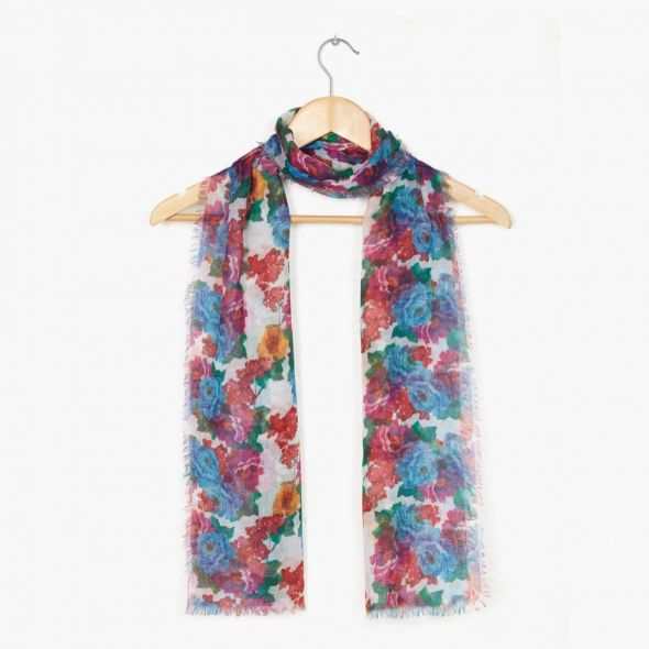 Burns Long Print Scarf | Red