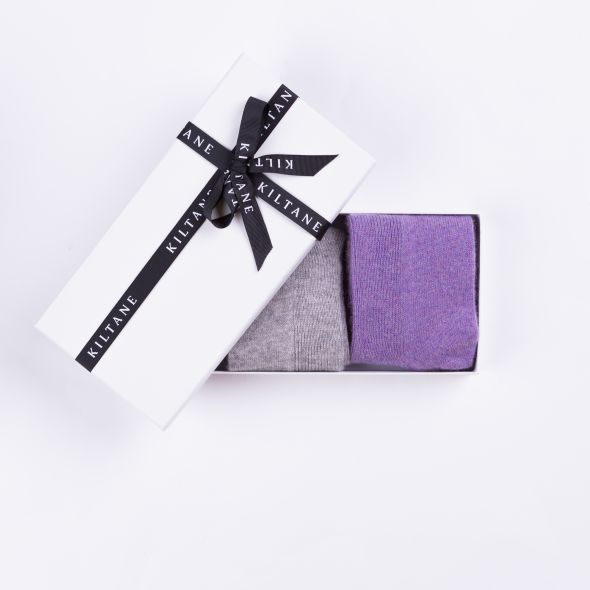 Women's Cashmere Socks Gift Set | Oyster Grey And Heather