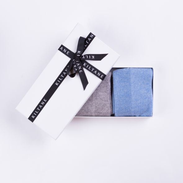 Women's Cashmere Socks Gift Set | Oyster Grey And Pale Blue
