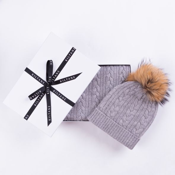 Cashmere Cable Knitted Scarf And Hat Gift Set | Oyster Grey