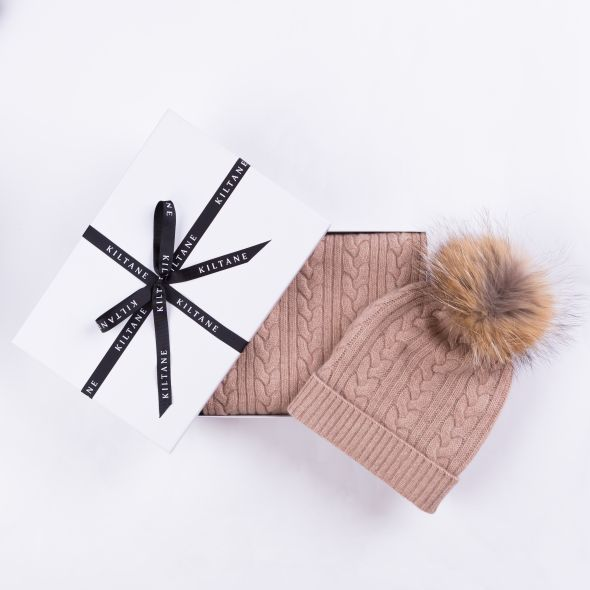 Cashmere Cable Knitted Scarf And Hat Gift Set | Sand