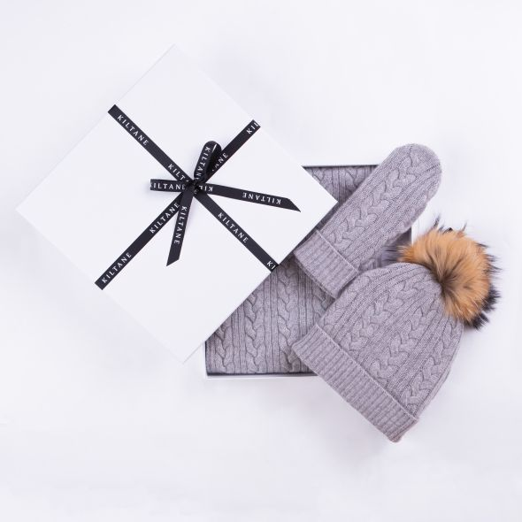 Cashmere Cable Knitted Scarf, Mittens And Hat Gift Set | Oyster Grey