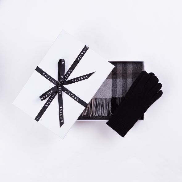 Cashmere Scarf And Glove Gift Set | Black Grey Tartan 2