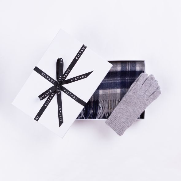 Cashmere Scarf And Glove Gift Set | Silver Bannockbane