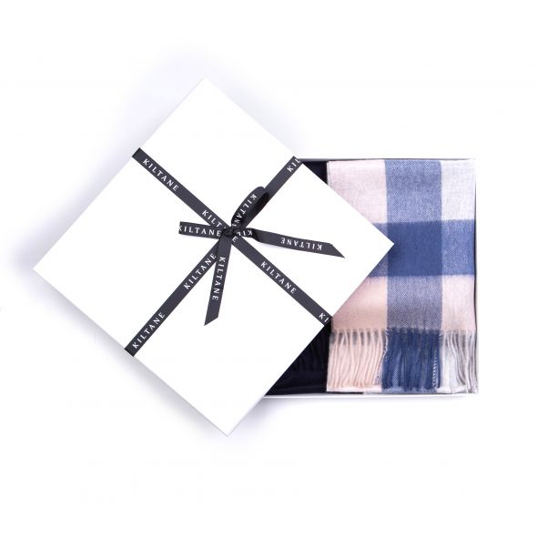 Cashmere Wide Scarf Gift Set | Swiss Coffee 5 Sq Check
