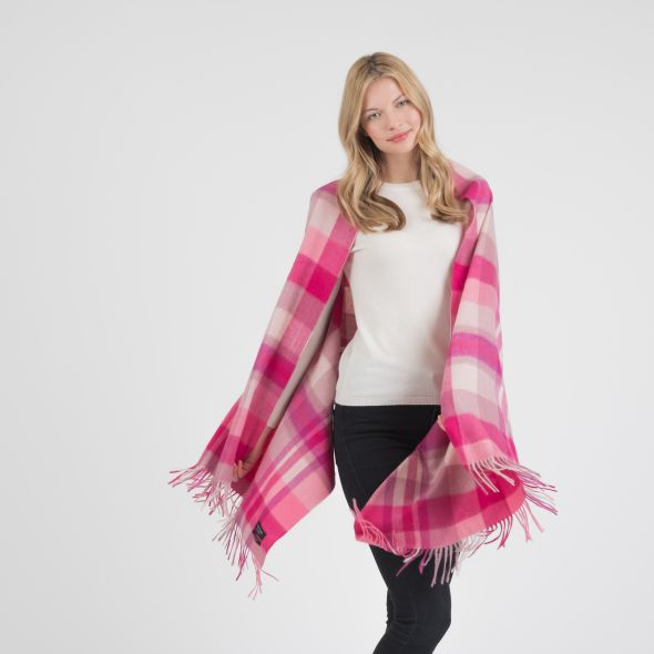 Cashmere Stole | Bright Pink New Square Check