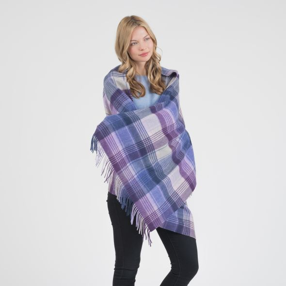 Cashmere Stole | Purple Repeat Edge Check