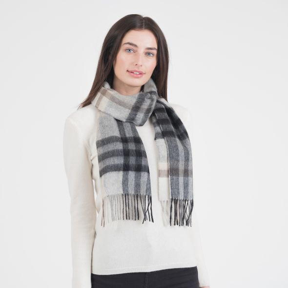 Lambswool Scarf | Black Grey Tartan 2