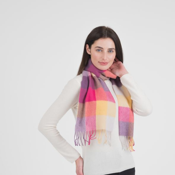 Lambswool Scarf | Yellow Pink Checkers