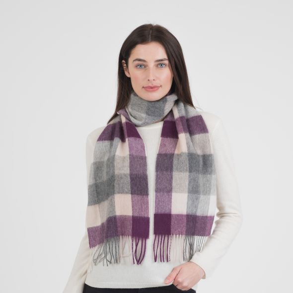 Lambswool Scarf | Purple Grey 5 Square Check