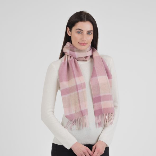 Lambswool Scarf | Light Pink Middle Box Check