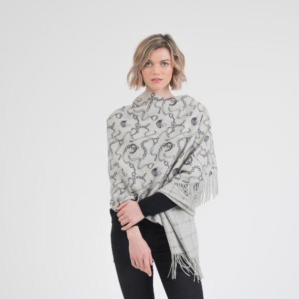 Cashmere Double Sided Printed Stole   Grey Equestrian Print