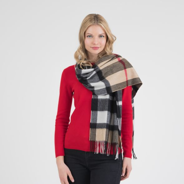 Cashmere Wide Scarf   Exploded Camel Thompson