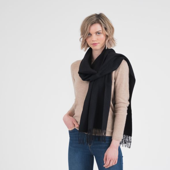 Cashmere Wide Scarf | Black