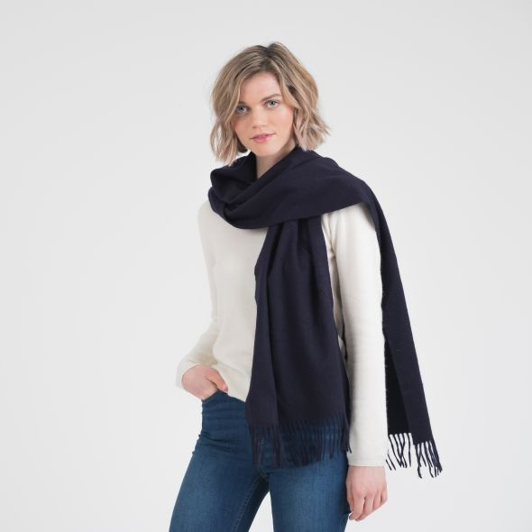 Cashmere Wide Scarf | Dark Navy Plain