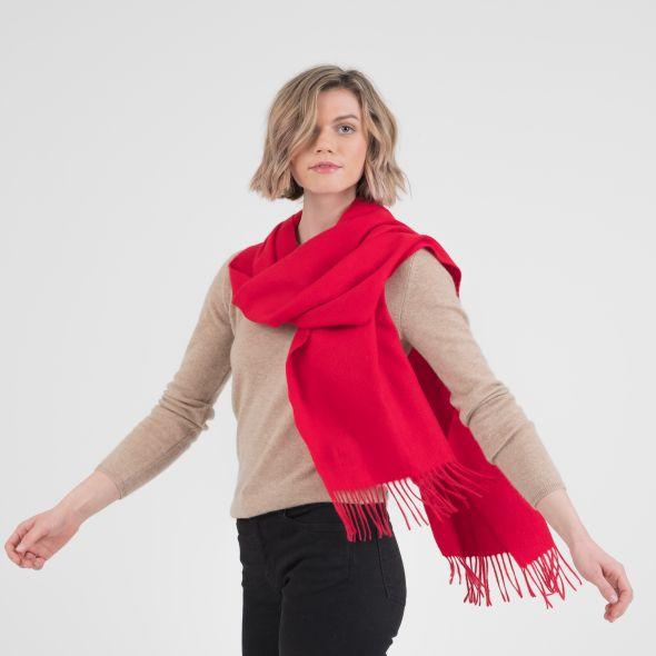 Cashmere Wide Scarf | Chinese Red Plain