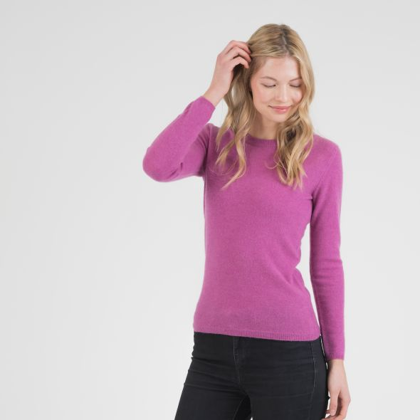 Women's Cashmere Crew Neck Jumper | Raspberry