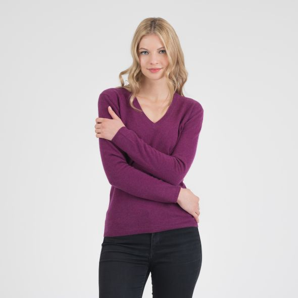 Women's Cashmere V Neck Jumper | Sloeberry