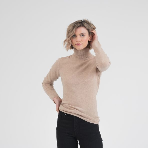 Women's Cashmere Polo Neck Jumper | Camel