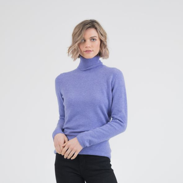 Women's Cashmere Polo Neck Jumper | Wisteria