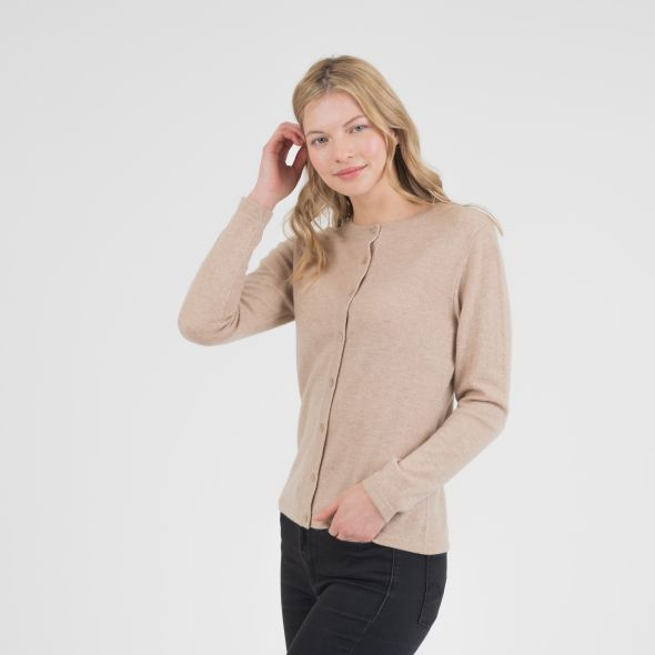 Women's Cashmere High Button Cardigan | Camel