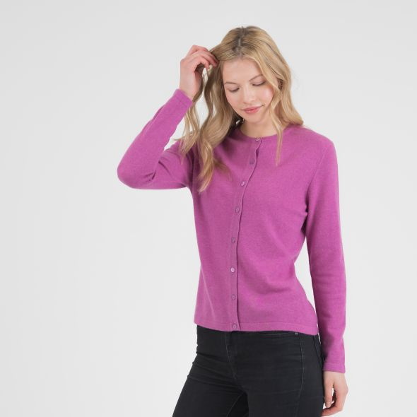 Women's Cashmere High Button Cardigan | Raspberry