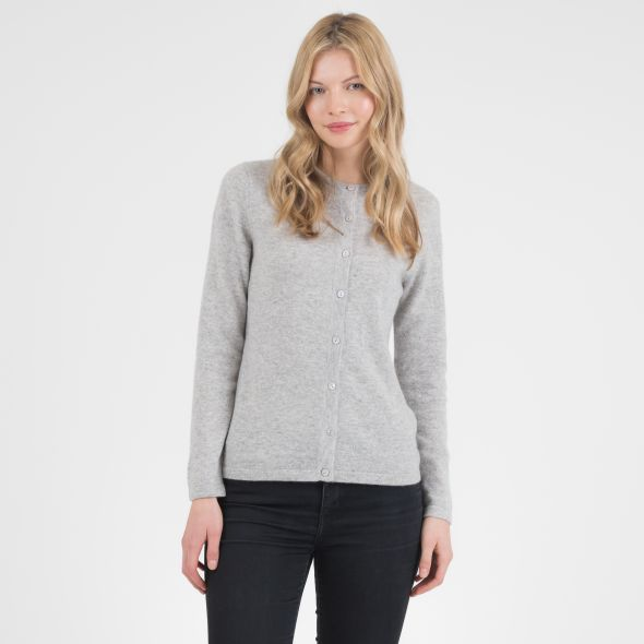 Women's Cashmere High Button Cardigan | Light Grey