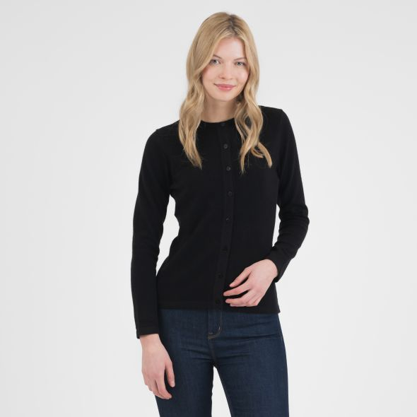 Women's Cashmere High Button Cardigan | Black