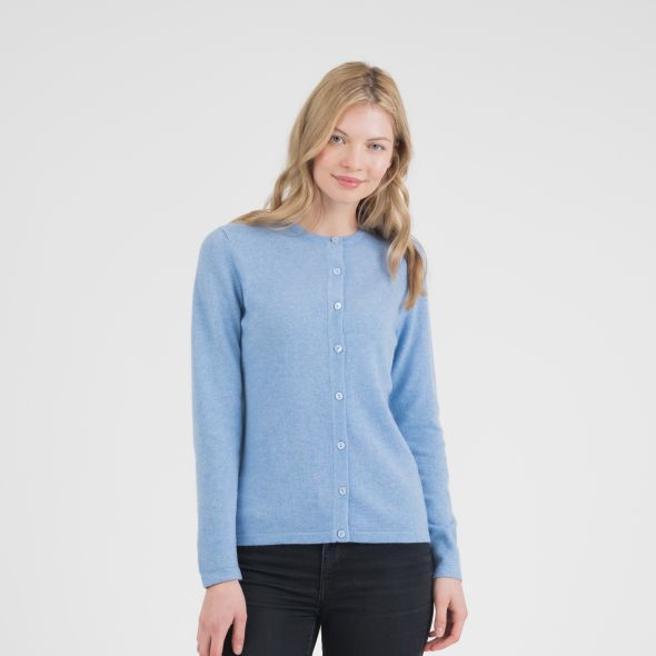 Women's Cashmere High Button Cardigan | Glacier