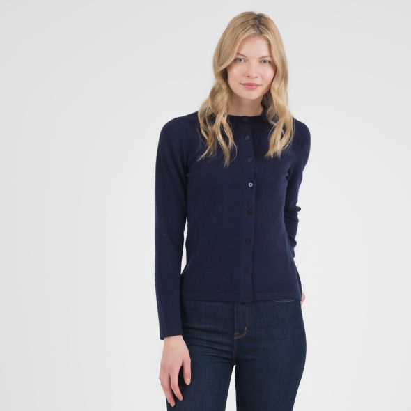 Women's Cashmere High Button Cardigan | Eclipse